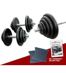 Ensemble barres chargées et haltères 70kg
