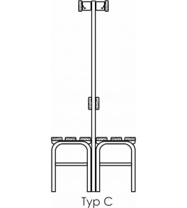 Banc hydro forme C largeur 100cm avec porte chaussure.