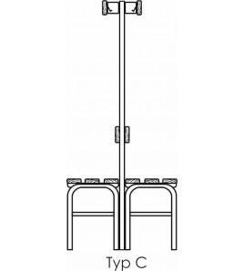 Banc hydro forme C largeur 200cm avec porte chaussure.