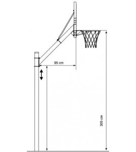 But de basket-ball à hauteur fixe 260 cm/ 305 cm - Thermolaqué