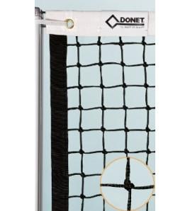 Filet de tennis avec noeuds sans double rang, bandage haut 70 mm, longueur de câble 13,50 ml, câble acier gainé 5 mm.