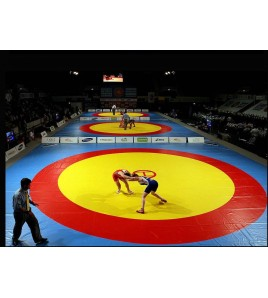 Toile de lutte Jaune/Rouge/Jaune dimensions 10x10 m