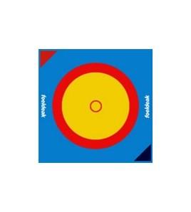 Toile de lutte dim. 12 x 12 ml. Couleurs Jaune/Rouge/Bleu