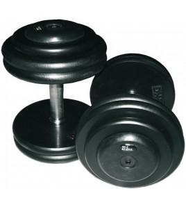 Haltères bloquées enrobées caoutchouc - Poids 35,00 kg