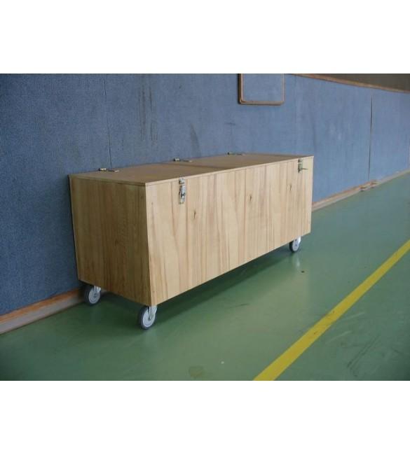 Coffre de rangement bois sur roulette 150x50x50 Coffre banc au sol à roulettes IDEQUIPE Sport