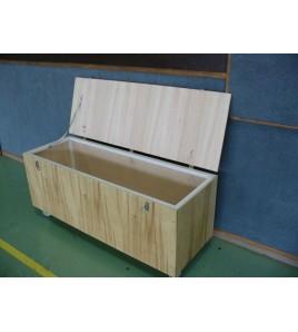 Coffre de rangement bois sur roulette 200x50x50 - Coffre banc au sol à roulettes